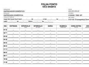 Modelo de Folha Ponto disponibilizado pelo Idoméstica.com