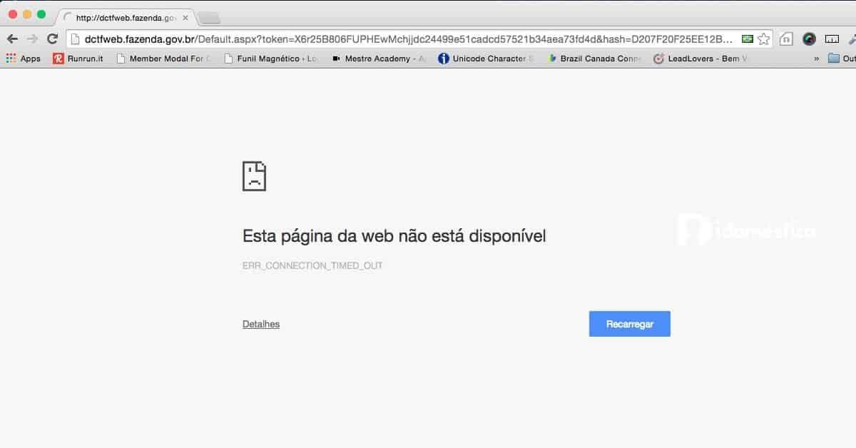 Ao tentar gerar a guia do esocial, o usuário é redirecionado para o site dctf web do ministério da fazenda, onde a guia deveria ser emitida.