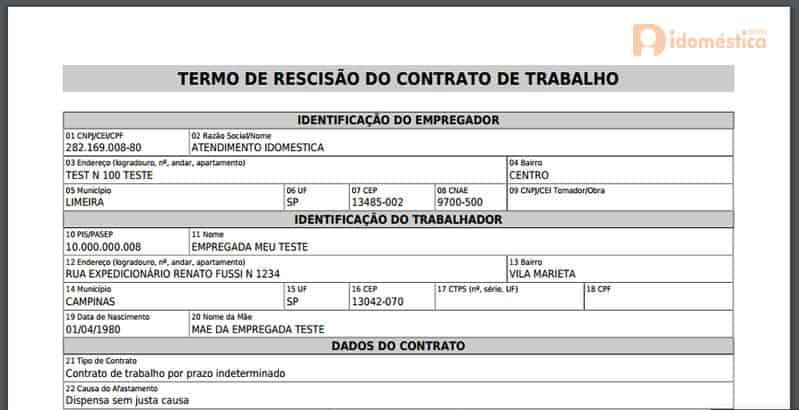 Modelo de TRCT (Termo de Rescisão do Contrato de Trabalho) para rescisão de empregados domésticos