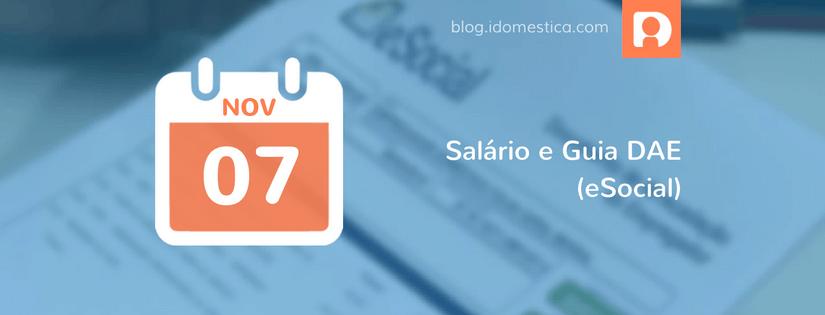 Salário e Guia DAE (eSocial) vence hoje