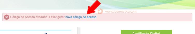 """eSocial - Clique n o link """"novo código de acesso"""""""
