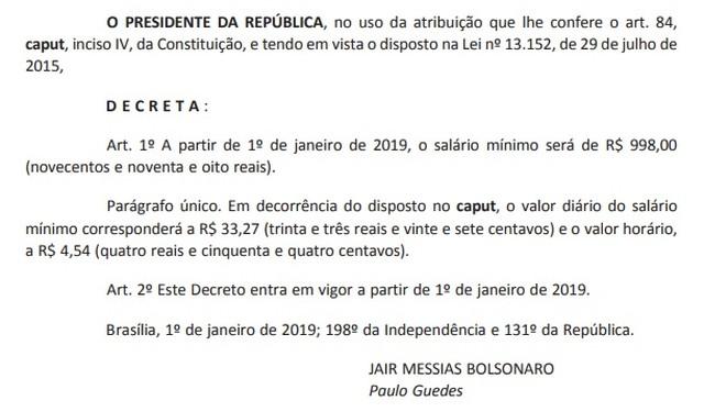 Decreto do salário mínimo de empregada doméstica para 2019